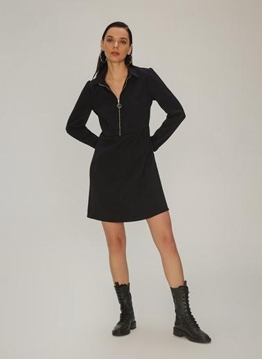 NGSTYLE Fermuar Detaylı Elbise Siyah